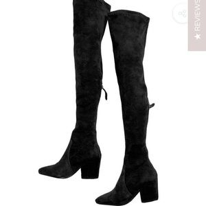 'Ellis' Black Classic OTK Suede Leather Boots